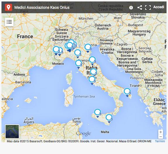 mappa medici Associazione Kaos Onlus